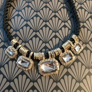 Jewelry - Vintage GLAM Black Cord and Rhinestone Necklace